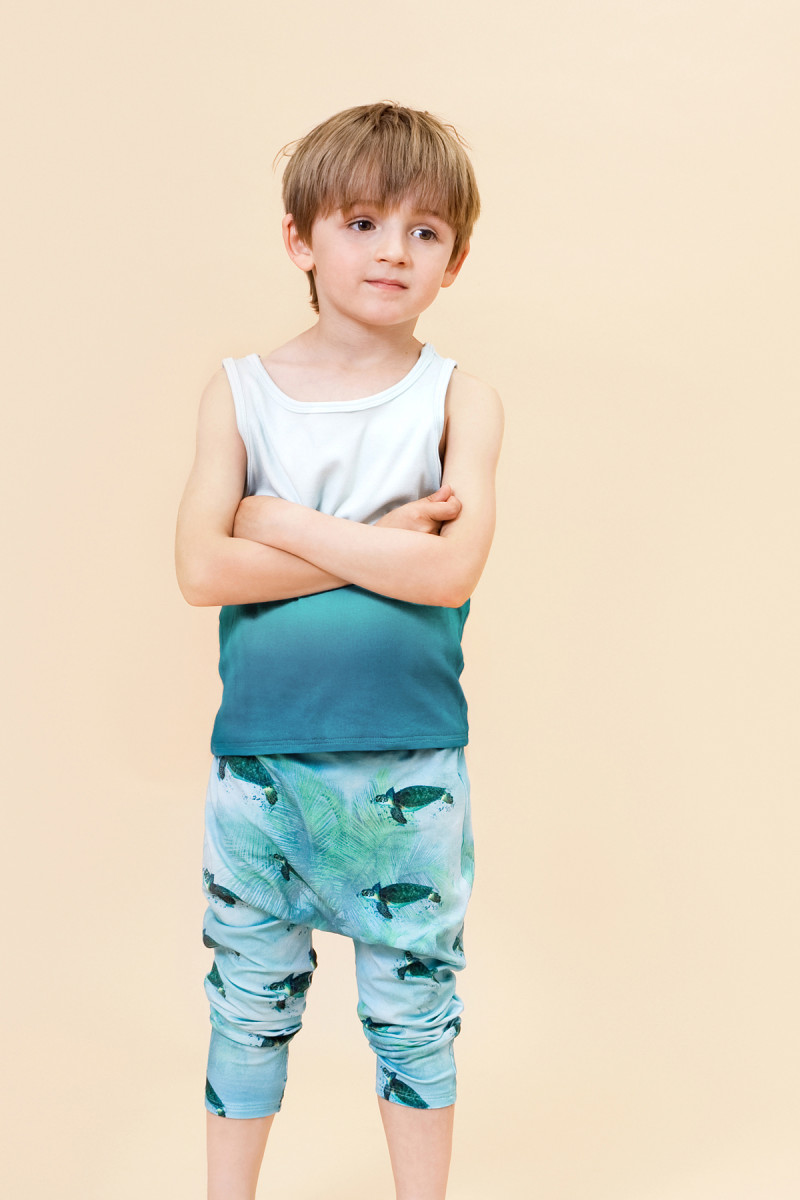 Little Man Happy DYED BLUE Tank MIAMI TURTLE Summer Baggy Pants Mood II