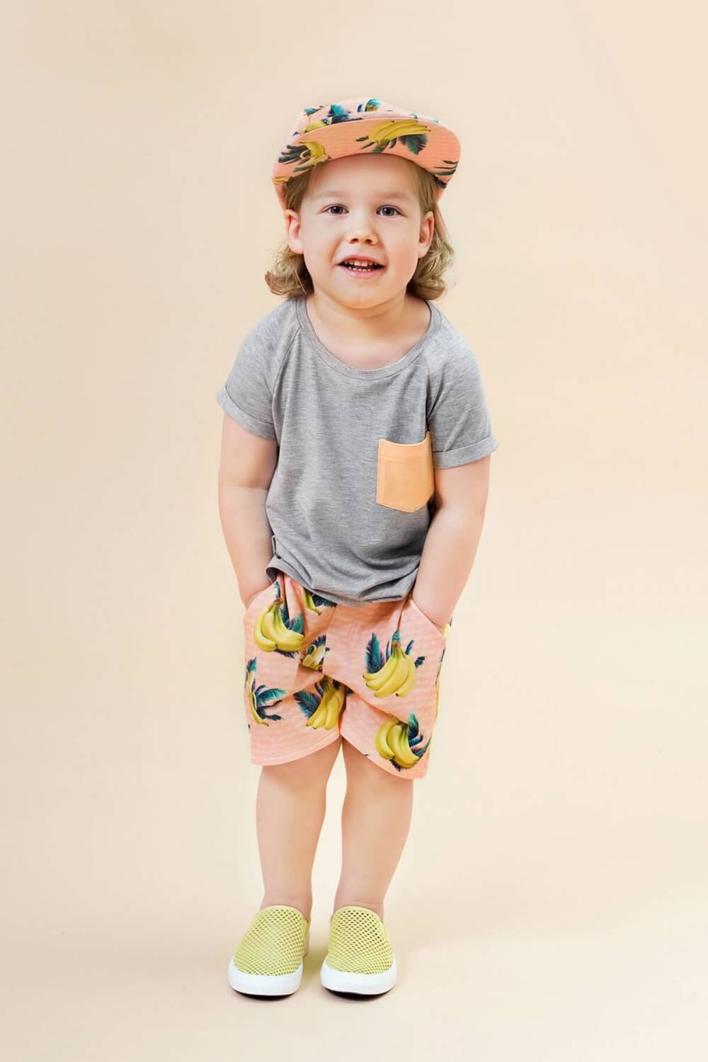 Little Man Happy ORANGE DIP Pocket Shirt BANANA SKY Bermuda Shorts Mood III