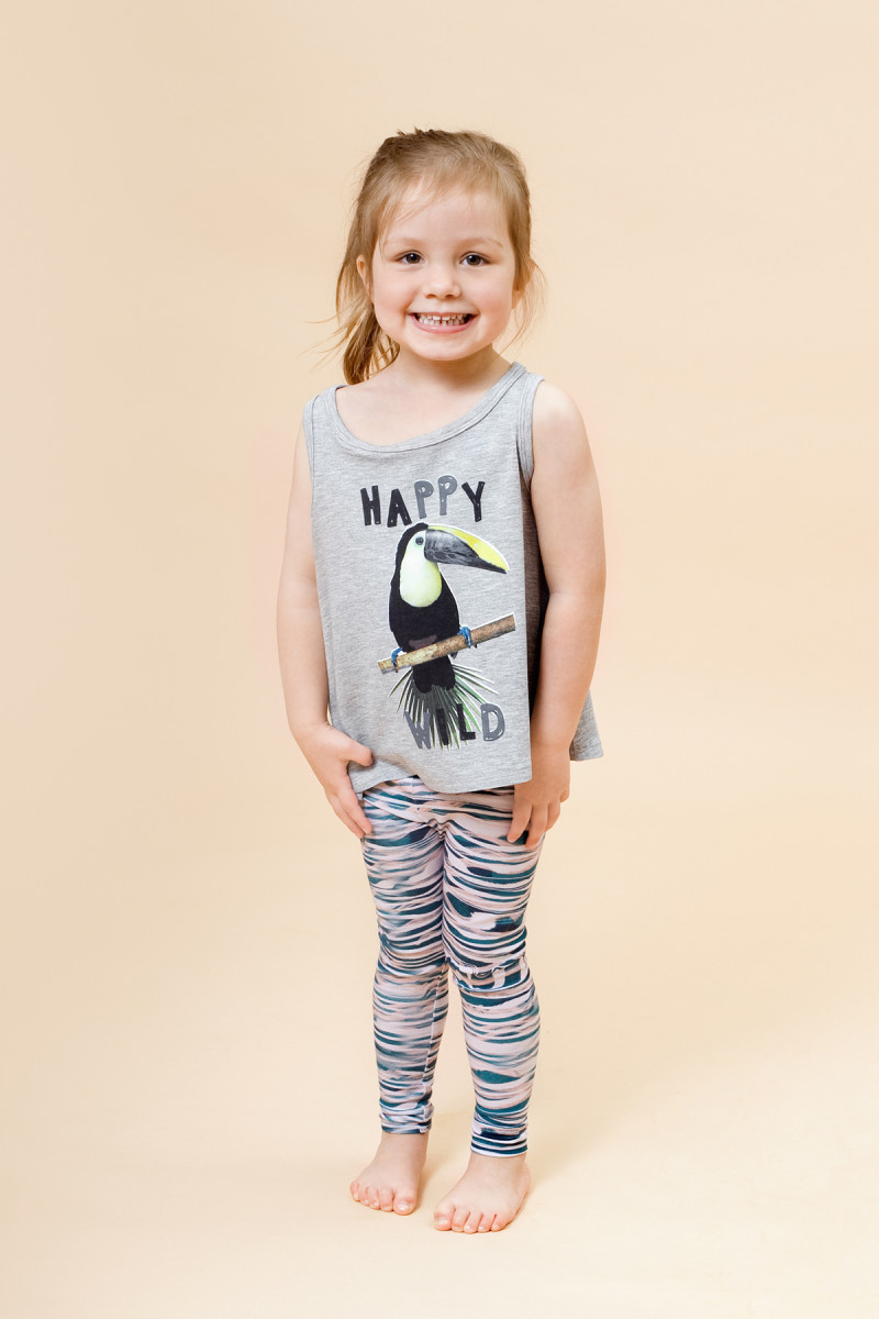 Little Man Happy WILD TUCANO Tank grey WAVES Leggings Mood