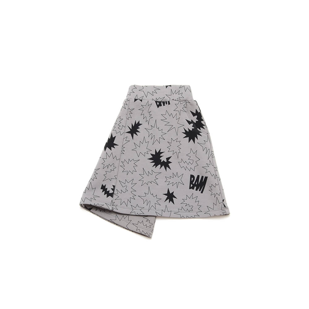 side of unisex brown and black skirt made of organic cotton