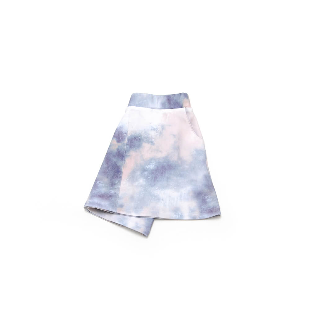 front side of girls blue and white skirt made of organic cotton