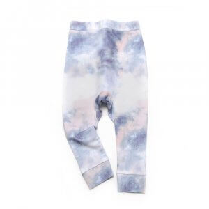 frontside of unisex blue and white pants made of organic cotton