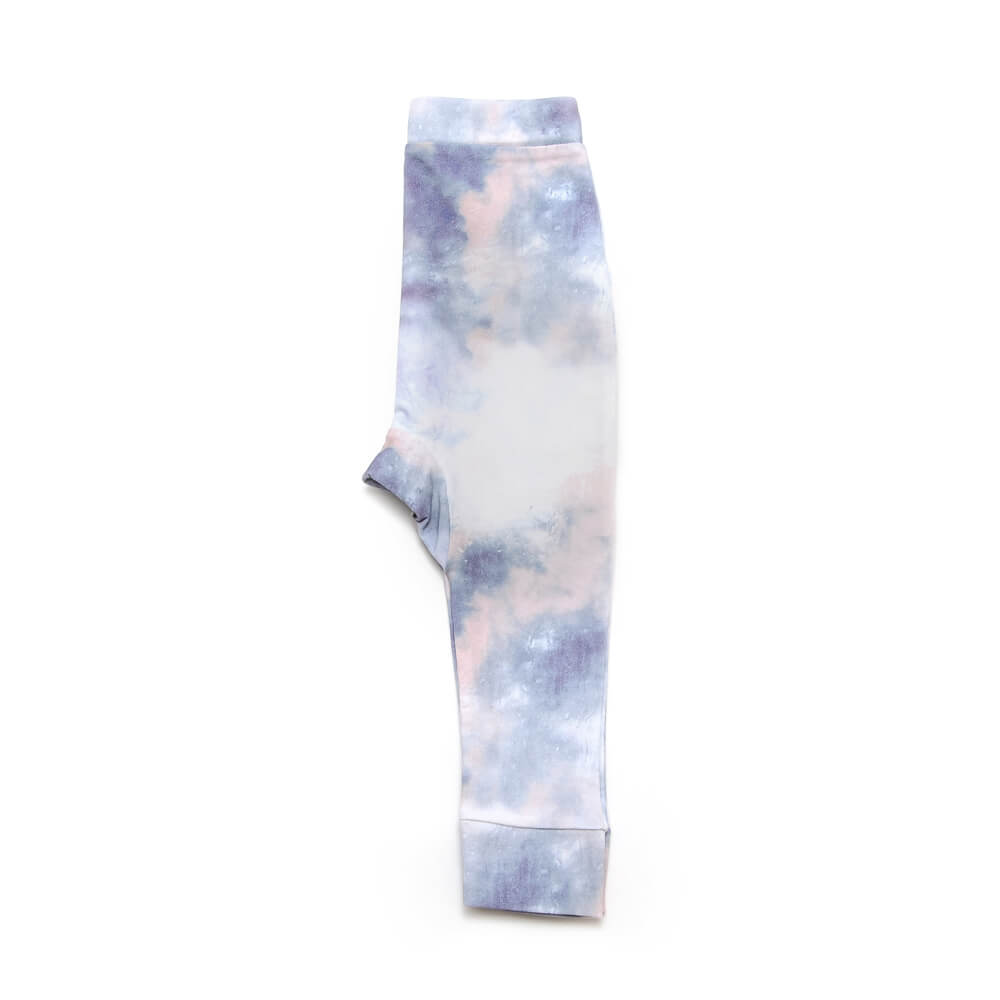 side of unisex blue and white pants made of organic cotton