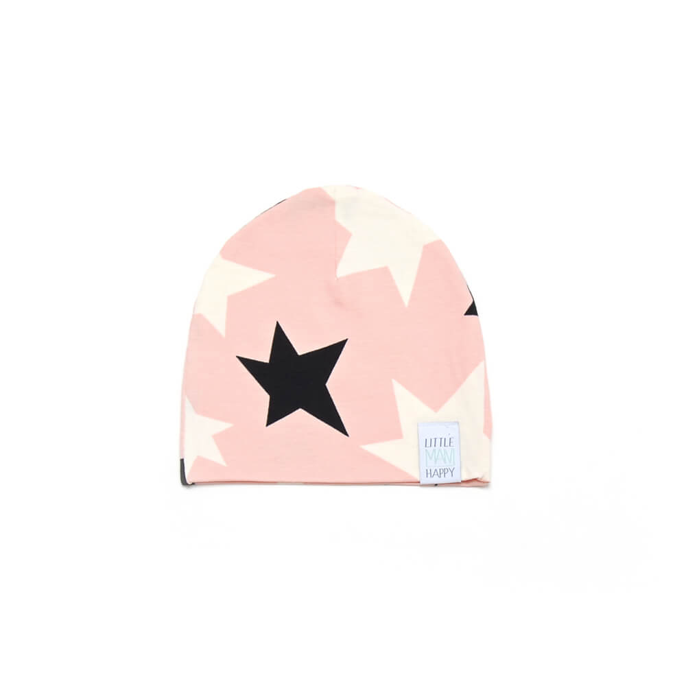 rose beanie for girls with black and white stars made of organic cotton