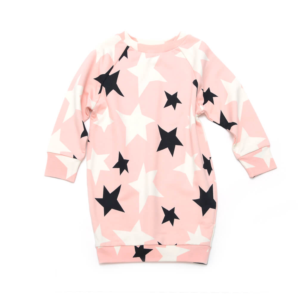 front of rose dress for girls with black and white stars made of organic cotton