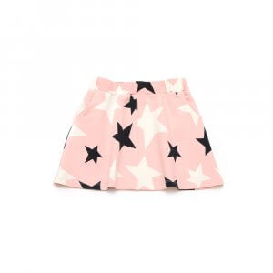 front of rose skirt for girls with black and white stars and pocket made of organic cotton