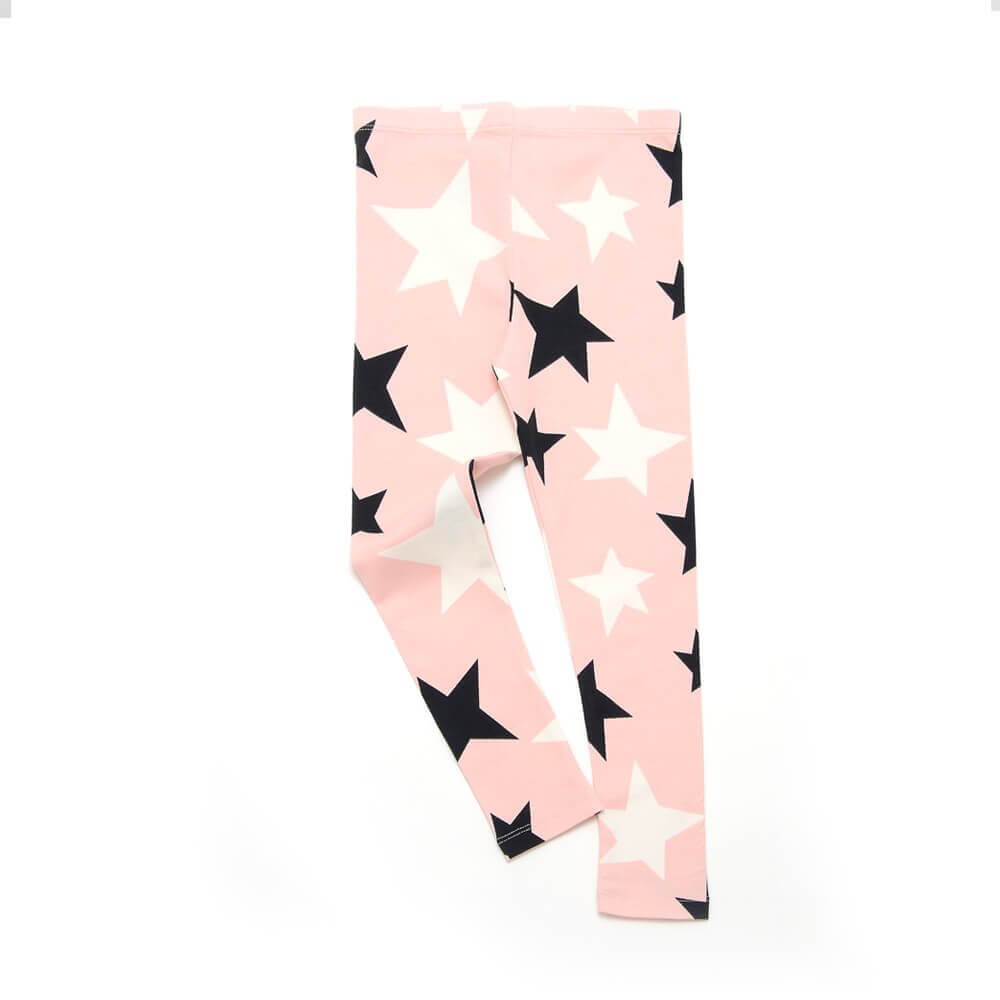 front of rose leggings for girls with black and white stars made of organic cotton