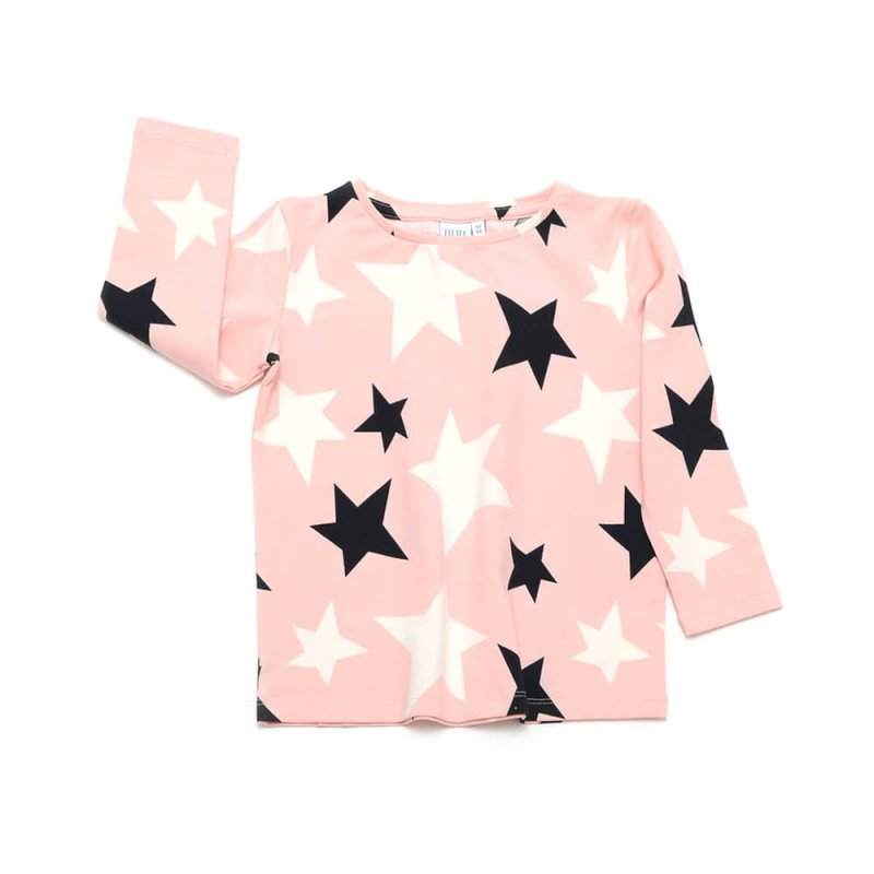 front of rose shirt for girls with black and white stars made of organic cotton