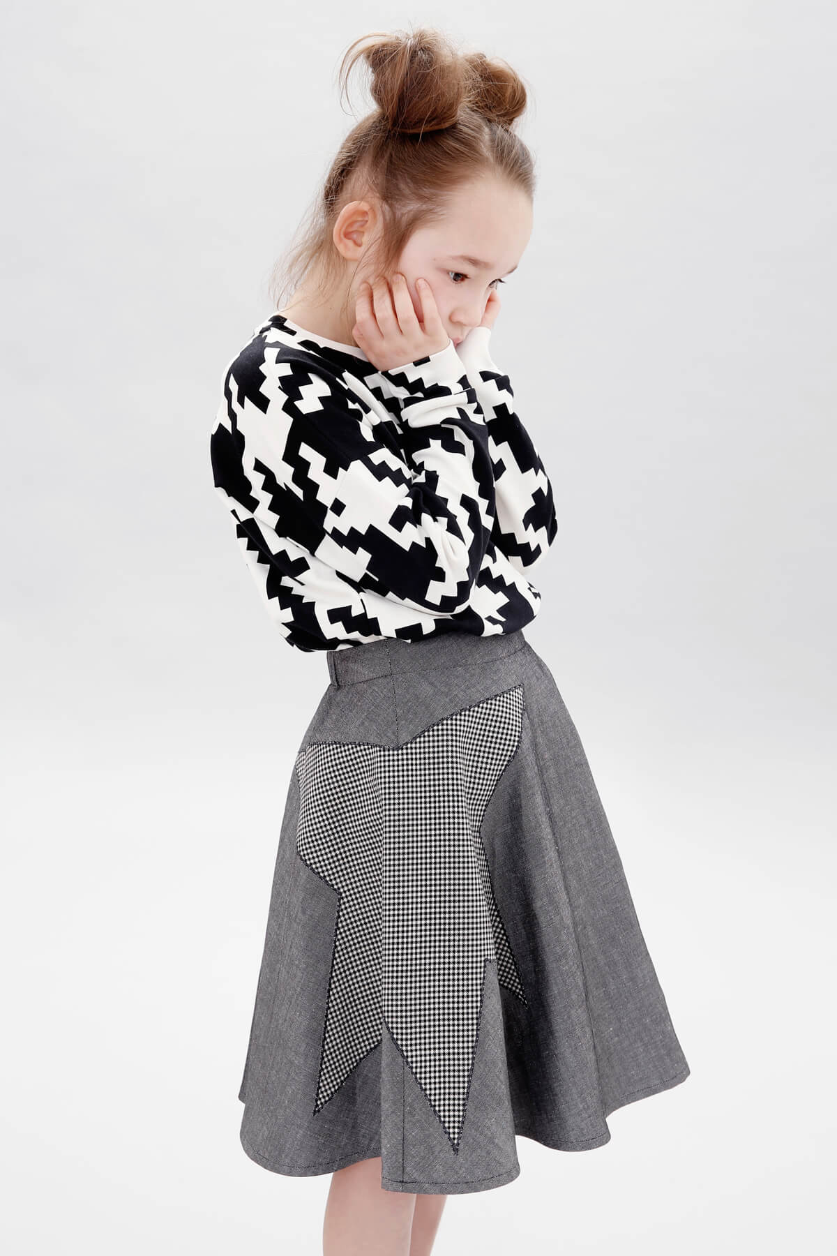 space invaders cropped sweater blackstar midi skirt