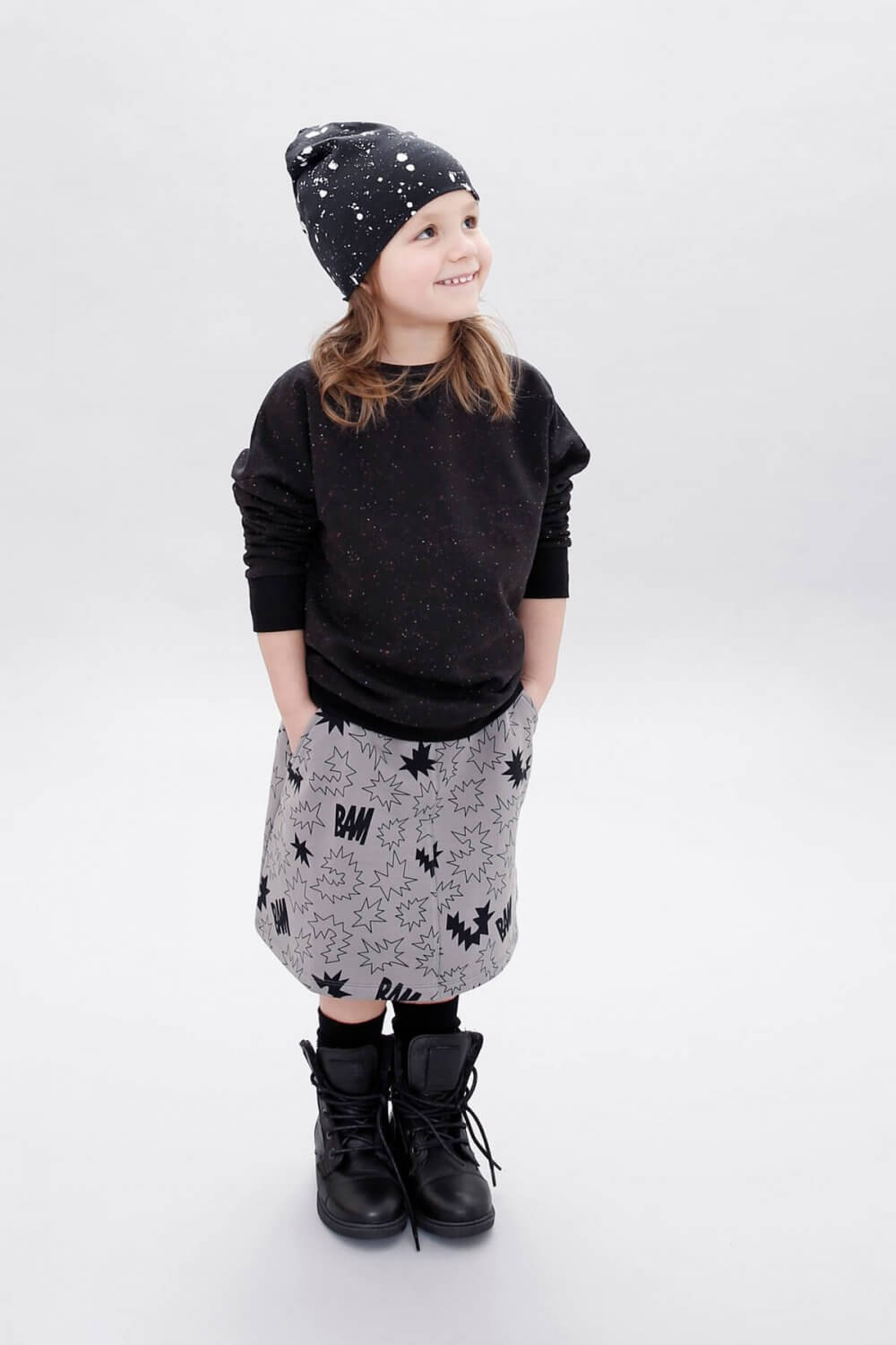 sparkled black sweater bam flared skirt