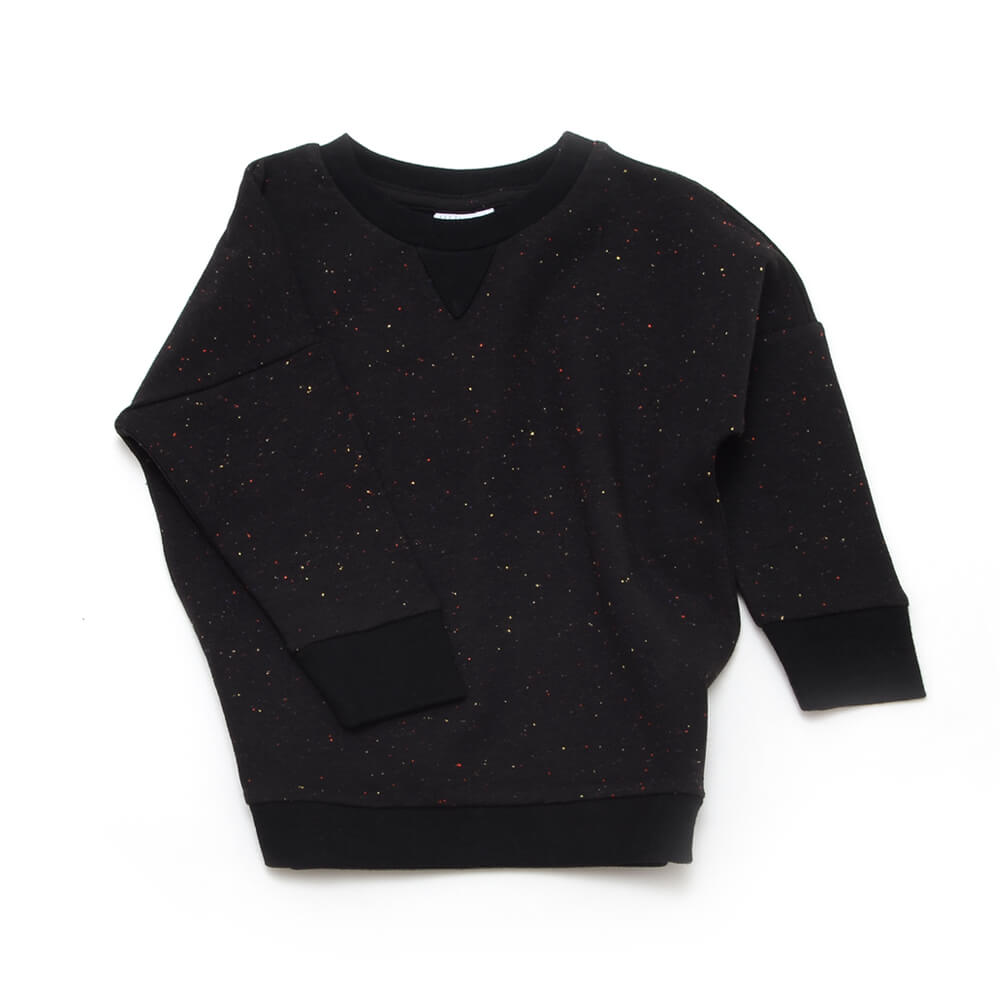 frontside of unisex black sweater made of organic cotton