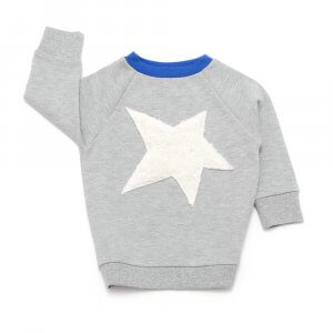 grey unisex sweater with white plush star on front and blue neckline made of organic cotton