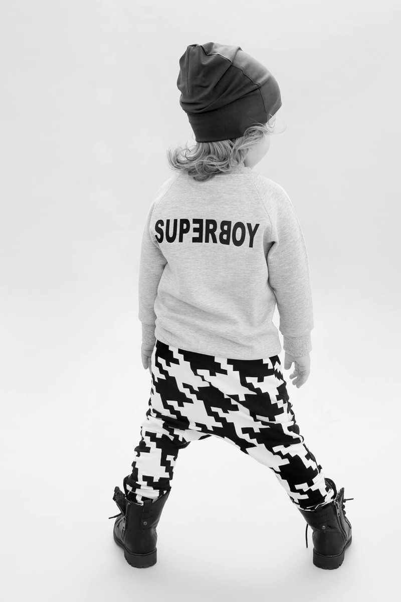 all grey beanie superboy raglan sweater back space invaders sweatpants back