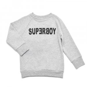grey sweater for boys with black silkscreen print on front and back made of organic cotton