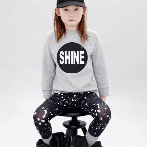 designer girls fashion - grey sweater with silkscreen prints on front and back