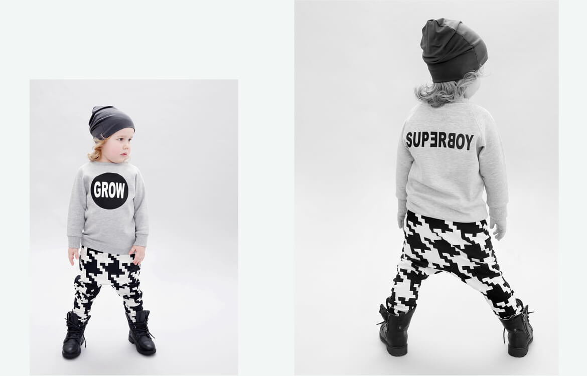 organic kids fashion - grey boys sweater and black and white unisex pants