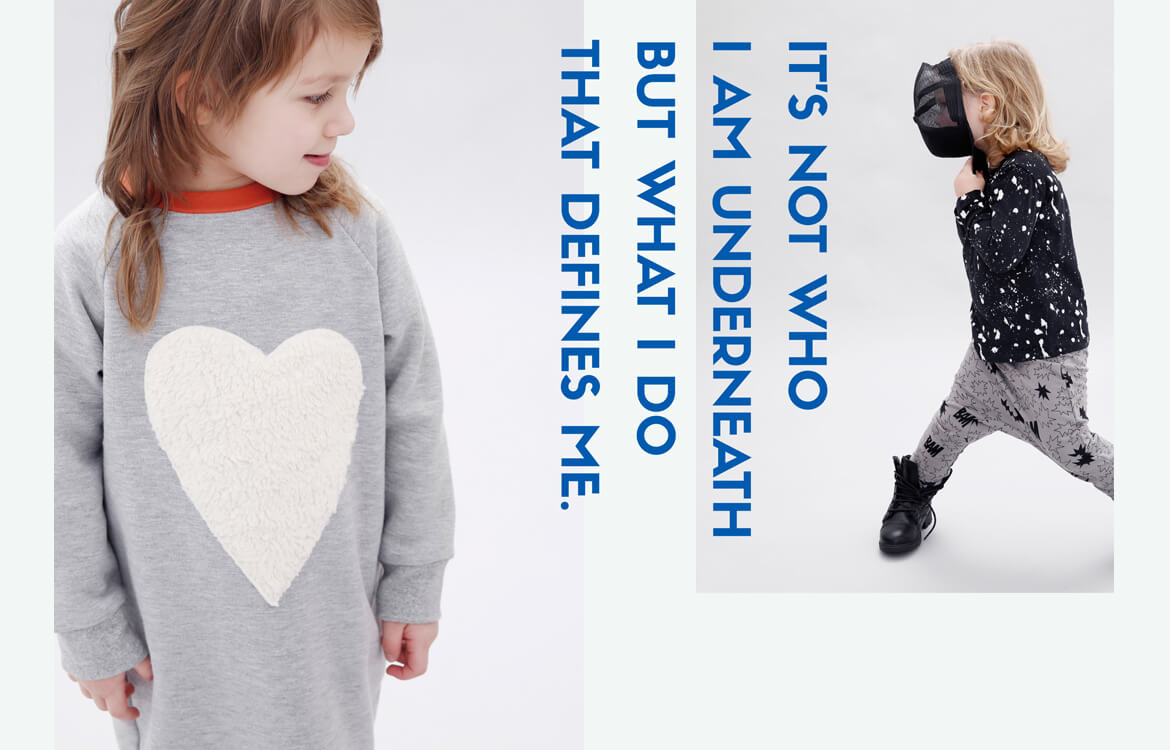 organic kids fashion - grey girls dress and black unisex longsleeve combined with brown and black unisex pants