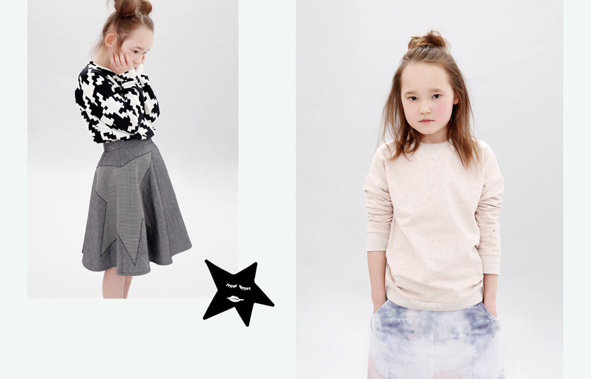 organic girls clothes - black and white unisex sweater and grey midiskirt - minimalism with love from Berlin