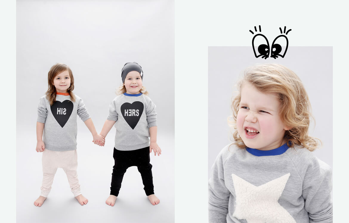 organic kids apparel - boys and girls sweater for kids combined with unisex black and rose sparkled pants made of organic cotton with love from Berlin