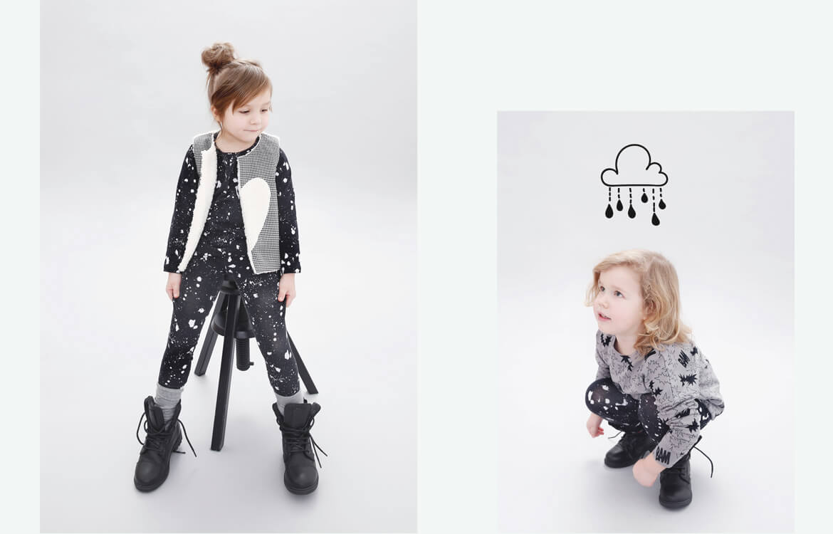 organic kids fashion - plush grey reversible vest combinded with unisex black longsleeve and leggings