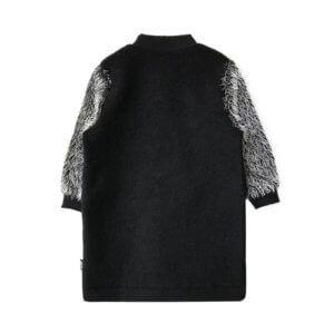 wool coat with silver sleeves back