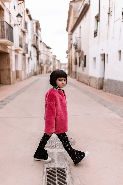 pink fluffy coat for kids mood
