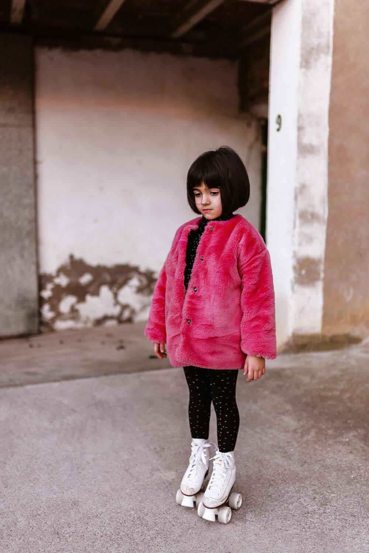 pink fluffy coat for kids mood 2