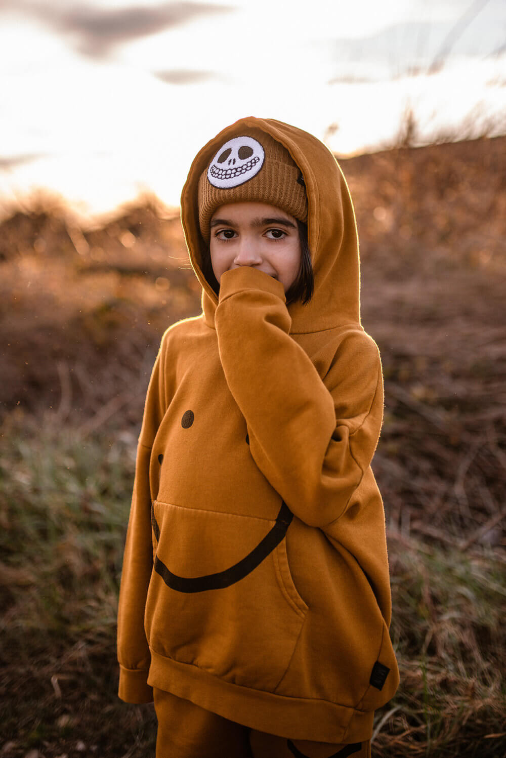 brown knitted beanie for kids mood