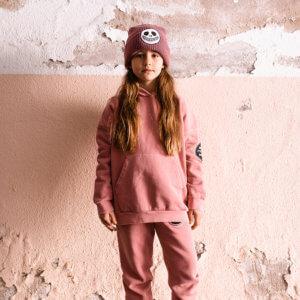 pink garment dye hoodie front