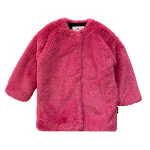 pink fluffy coat for kids front