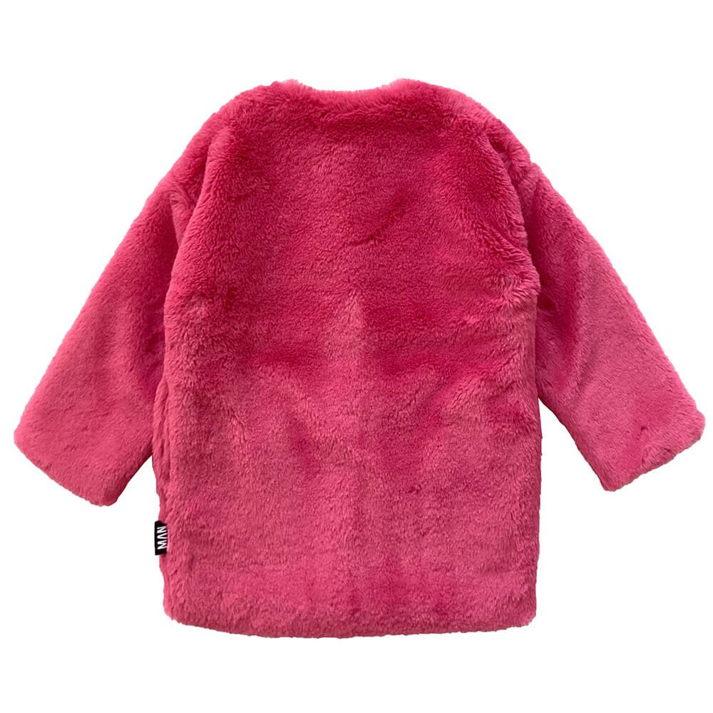 pink fluffy coat for kids back