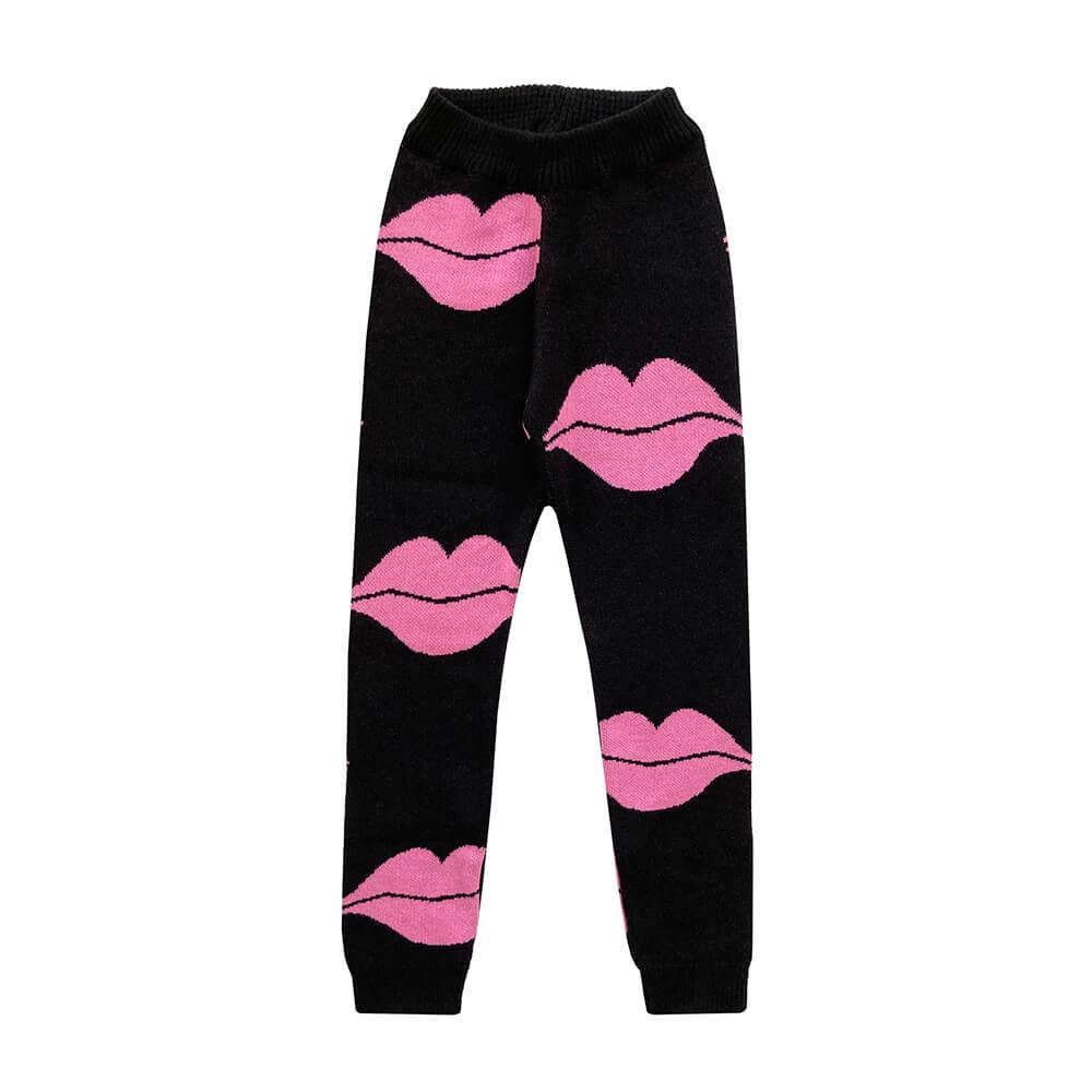 kiss knitted leggings for kids