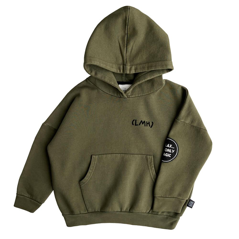 green garment dye hoodie front