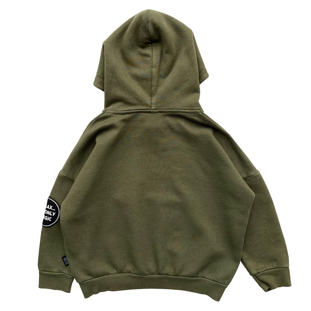 green garment dye hoodie back