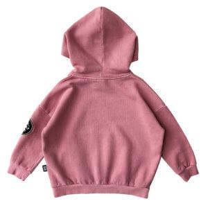 pink garment dye hoodie back