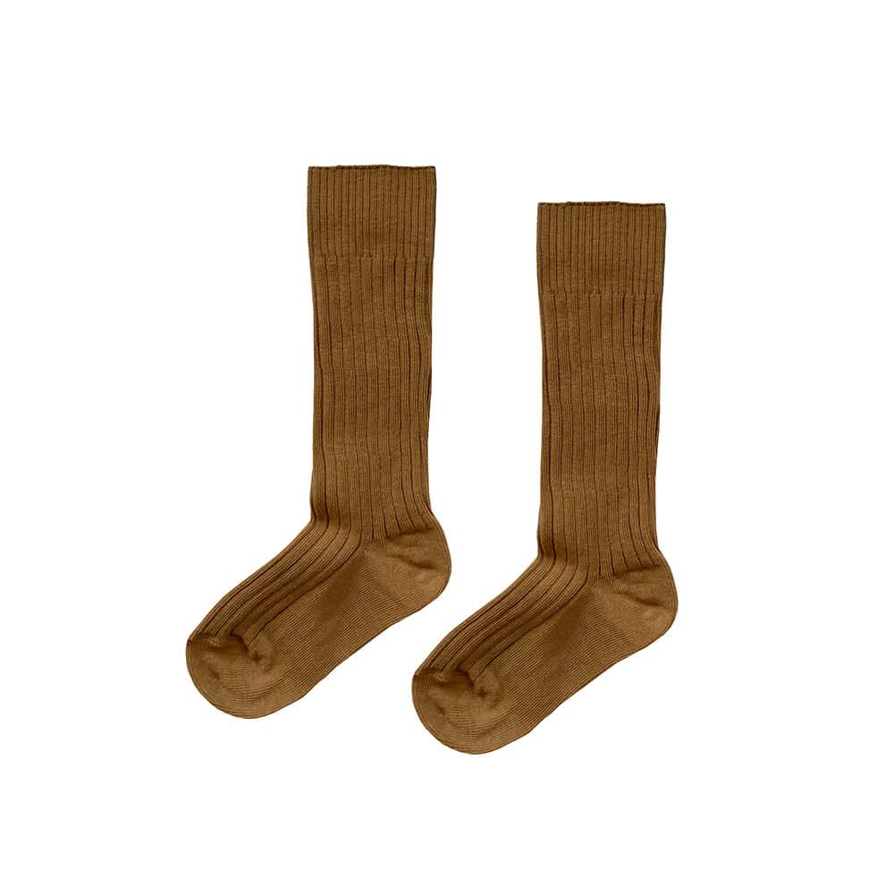 brown ribbed knee socks for kids