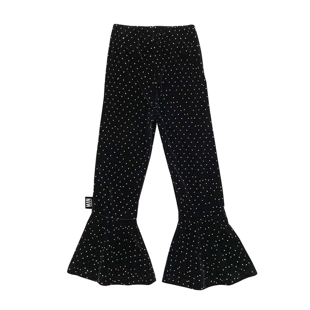 flared leggings with crystal dots back