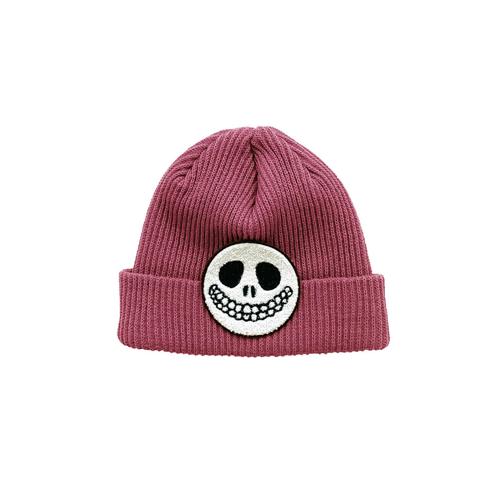 rose knitted beanie for kids front