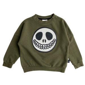green skull sweater front