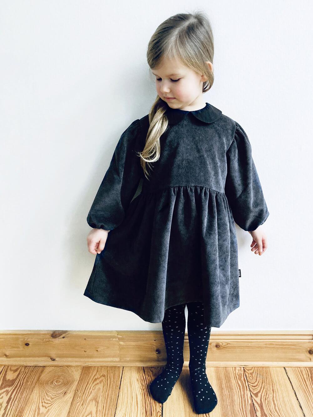 grey corduroy dress for kids studio
