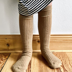 brown ribbed knee socks for kids studio