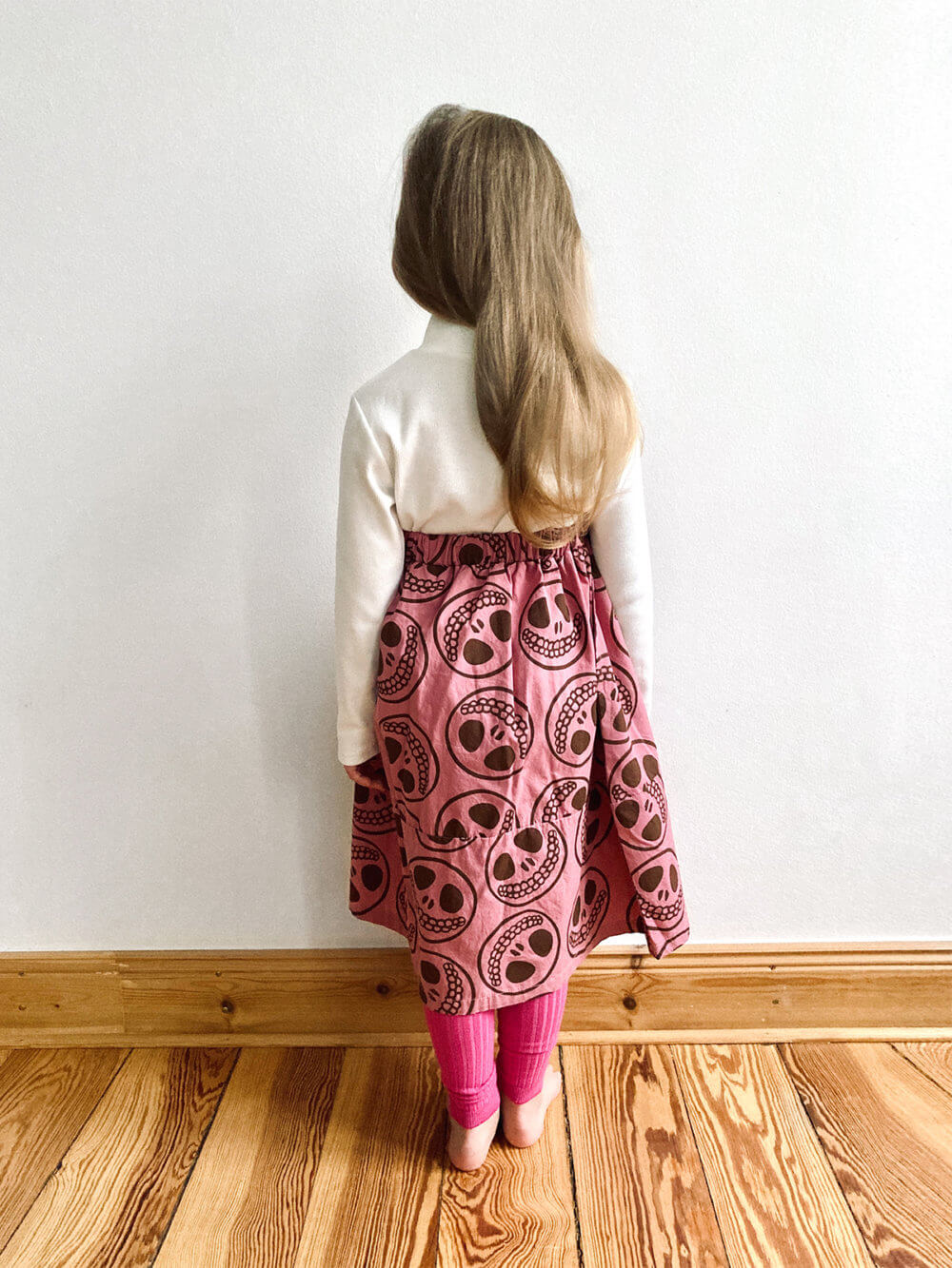 happy skull midi skirt back